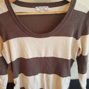 Women's Pink Rose Brown and Cream Striped Sweater
